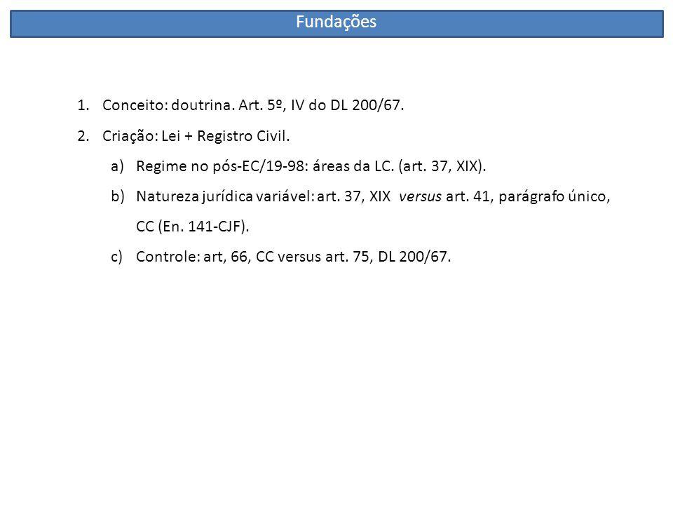 1.Conceito: doutrina. Art. 5º, IV do DL 200/67. 2.Criação: Lei + Registro Civil. a)Regime no pós-EC/19-98: áreas da LC. (art. 37, XIX). b)Natureza jur