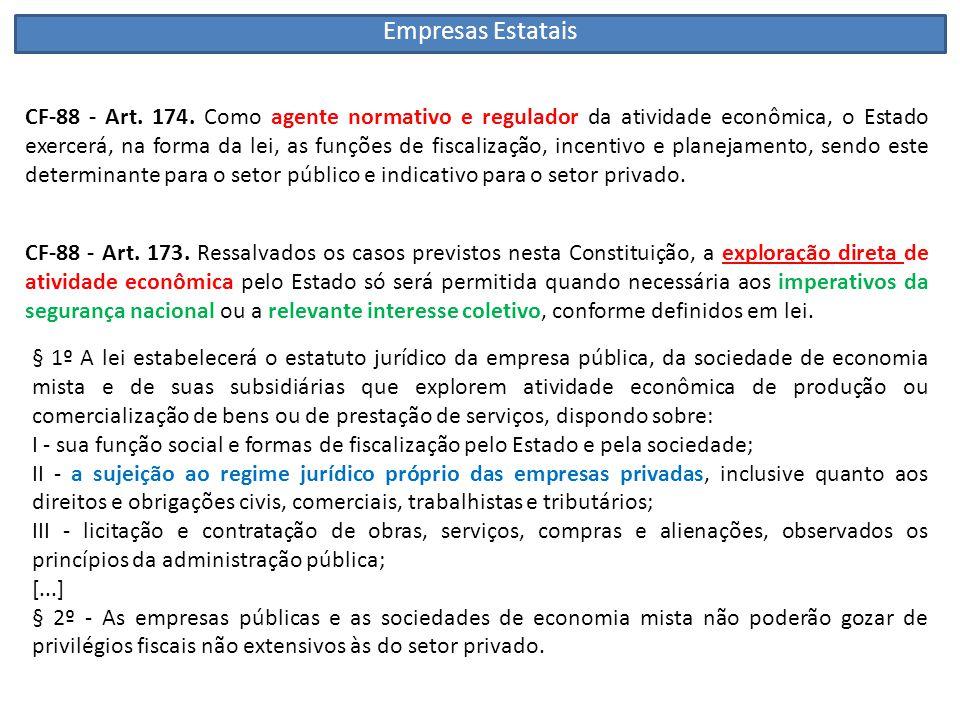 CF-88 - Art. 174. Como agente normativo e regulador da atividade econômica, o Estado exercerá, na forma da lei, as funções de fiscalização, incentivo