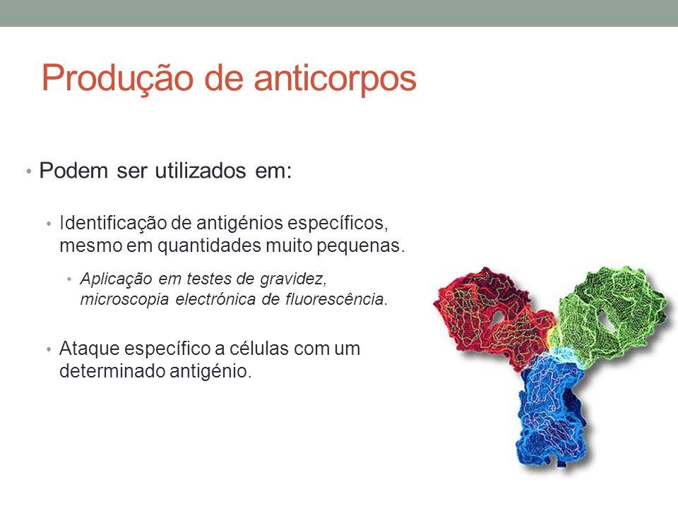 Produção de anticorpos Podem ser utilizados em: Identificação de antigénios específicos, mesmo em quantidades muito pequenas. Aplicação em testes de g