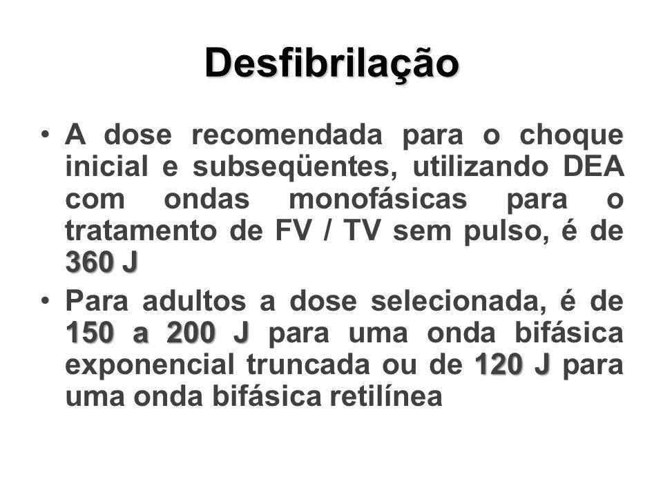Desfibrilação 360 JA dose recomendada para o choque inicial e subseqüentes, utilizando DEA com ondas monofásicas para o tratamento de FV / TV sem puls