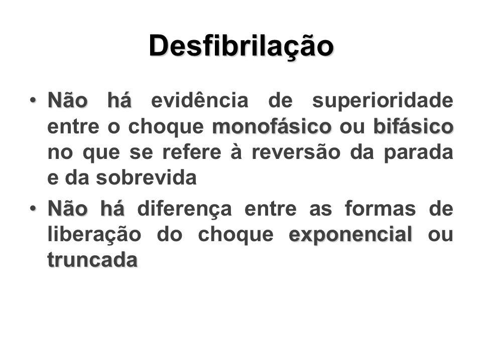 Desfibrilação Não há monofásicobifásicoNão há evidência de superioridade entre o choque monofásico ou bifásico no que se refere à reversão da parada e