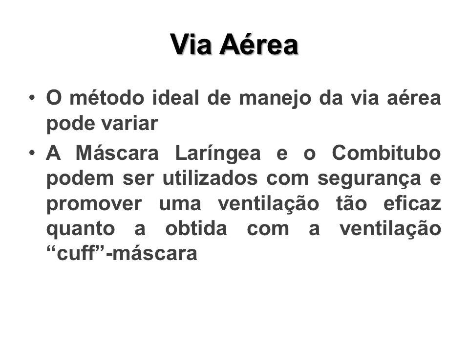 Via Aérea O método ideal de manejo da via aérea pode variar A Máscara Laríngea e o Combitubo podem ser utilizados com segurança e promover uma ventilação tão eficaz quanto a obtida com a ventilação cuff-máscara