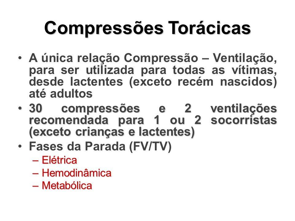 Compressões Torácicas A única relação Compressão – Ventilação, para ser utilizada para todas as vítimas, desde lactentes (exceto recém nascidos) até adultos 30 compressões e 2 ventilações recomendada para 1 ou 2 socorristas (exceto crianças e lactentes)30 compressões e 2 ventilações recomendada para 1 ou 2 socorristas (exceto crianças e lactentes) Fases da Parada (FV/TV) –Elétrica –Hemodinâmica –Metabólica