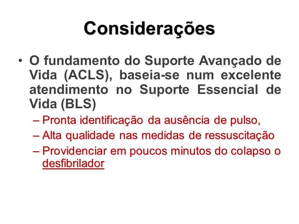 Considerações O fundamento do Suporte Avançado de Vida (ACLS), baseia-se num excelente atendimento no Suporte Essencial de Vida (BLS) –Pronta identifi