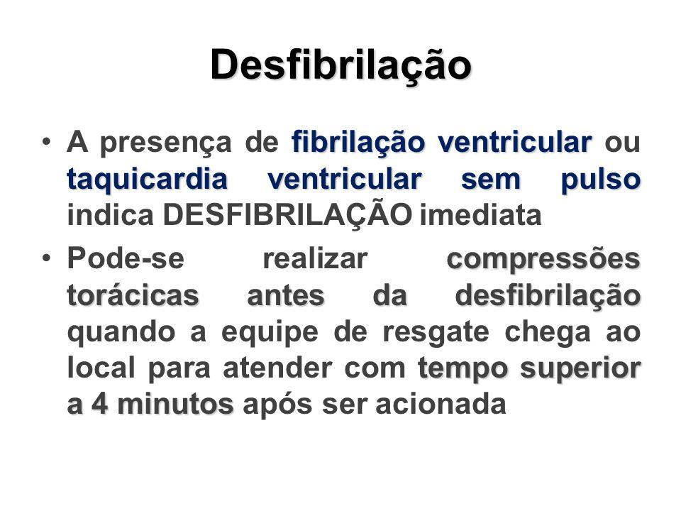 Desfibrilação fibrilação ventricular taquicardia ventricular sem pulsoA presença de fibrilação ventricular ou taquicardia ventricular sem pulso indica DESFIBRILAÇÃO imediata compressões torácicas antes da desfibrilação tempo superior a 4 minutosPode-se realizar compressões torácicas antes da desfibrilação quando a equipe de resgate chega ao local para atender com tempo superior a 4 minutos após ser acionada