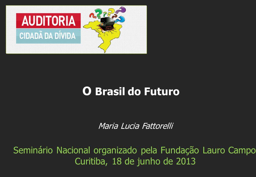 Maria Lucia Fattorelli Seminário Nacional organizado pela Fundação Lauro Campos Curitiba, 18 de junho de 2013 O Brasil do Futuro