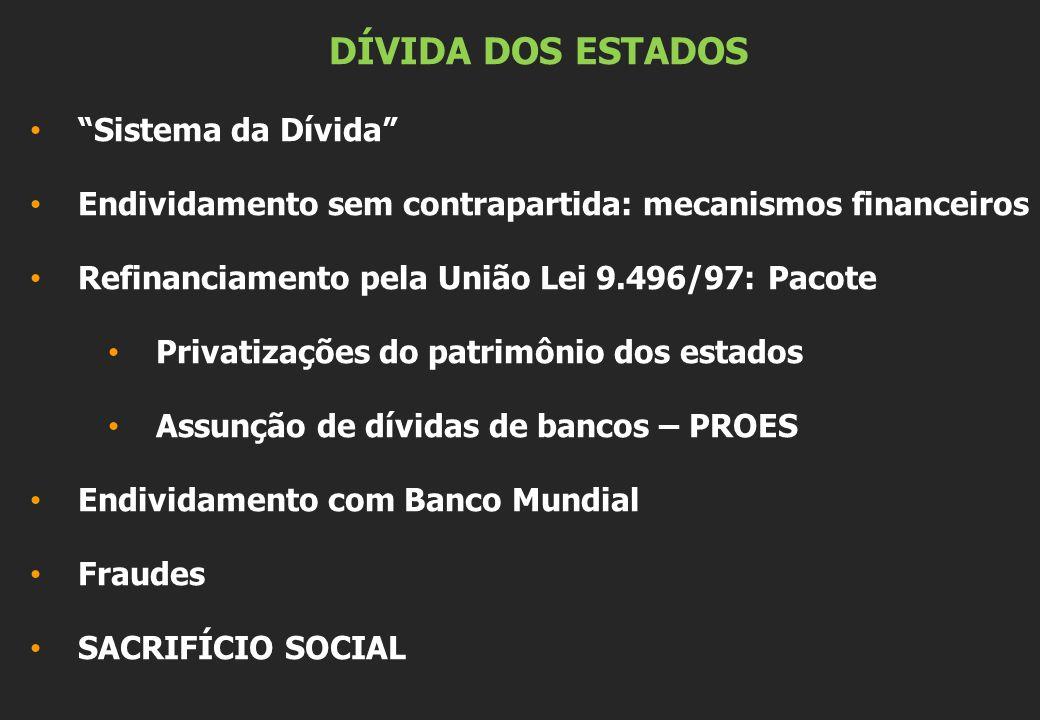 DÍVIDA DOS ESTADOS Sistema da Dívida Endividamento sem contrapartida: mecanismos financeiros Refinanciamento pela União Lei 9.496/97: Pacote Privatiza