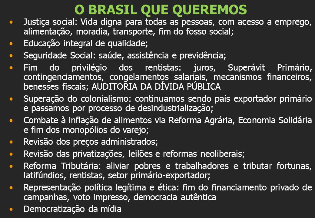 O BRASIL QUE QUEREMOS Justiça social: Vida digna para todas as pessoas, com acesso a emprego, alimentação, moradia, transporte, fim do fosso social; E