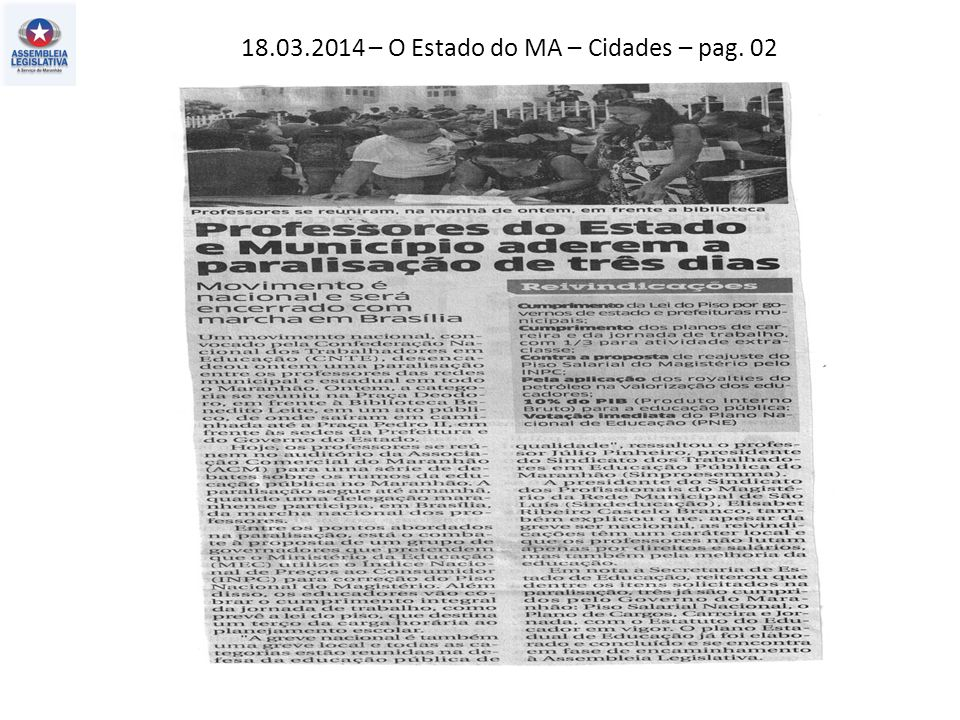 18.03.2014 – O Estado do MA – Cidades – pag. 02