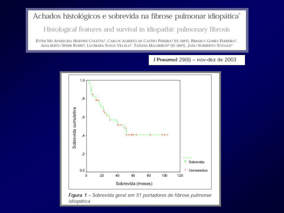 JR, 65 anos, Masc., FPI em 2006, biópsia a céu aberto Neo pulmonar ressecada em 2007 Diabete mélito de difícil controle Insuf renal QP : tosse Caso Clinico