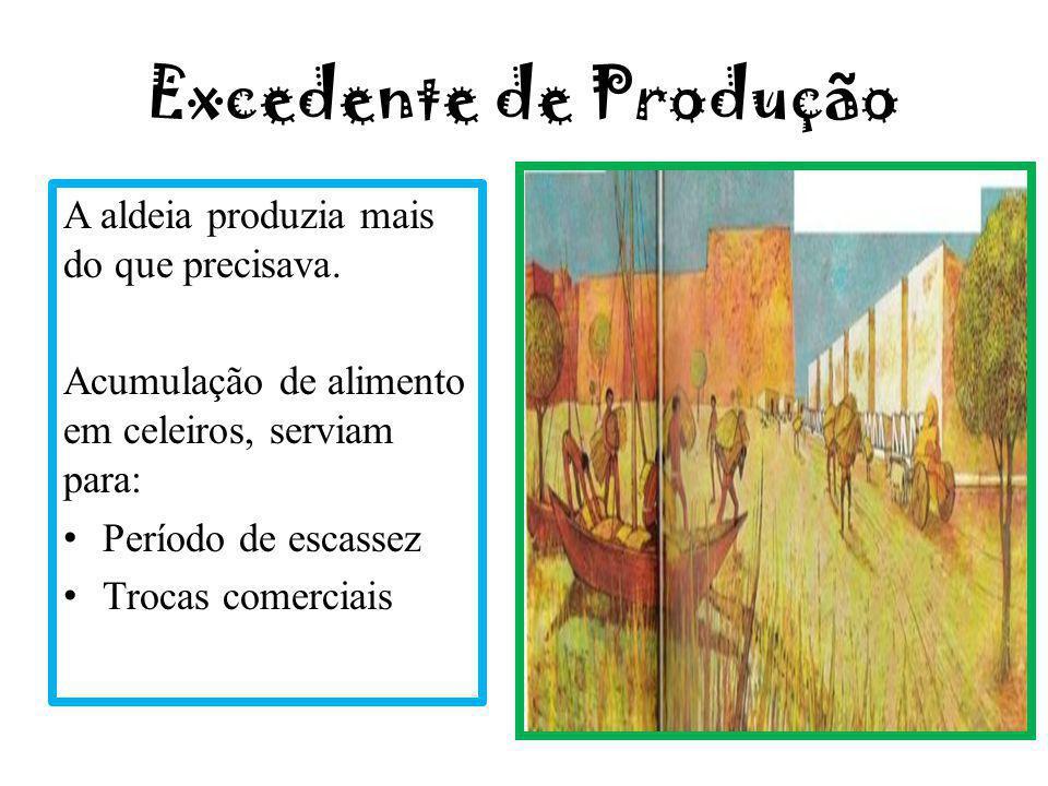 Excedente de Produção A aldeia produzia mais do que precisava. Acumulação de alimento em celeiros, serviam para: Período de escassez Trocas comerciais