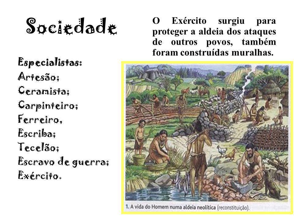 Sociedade Especialistas: Artesão; Ceramista; Carpinteiro; Ferreiro, Escriba; Tecelão; Escravo de guerra; Exército. O Exército surgiu para proteger a a
