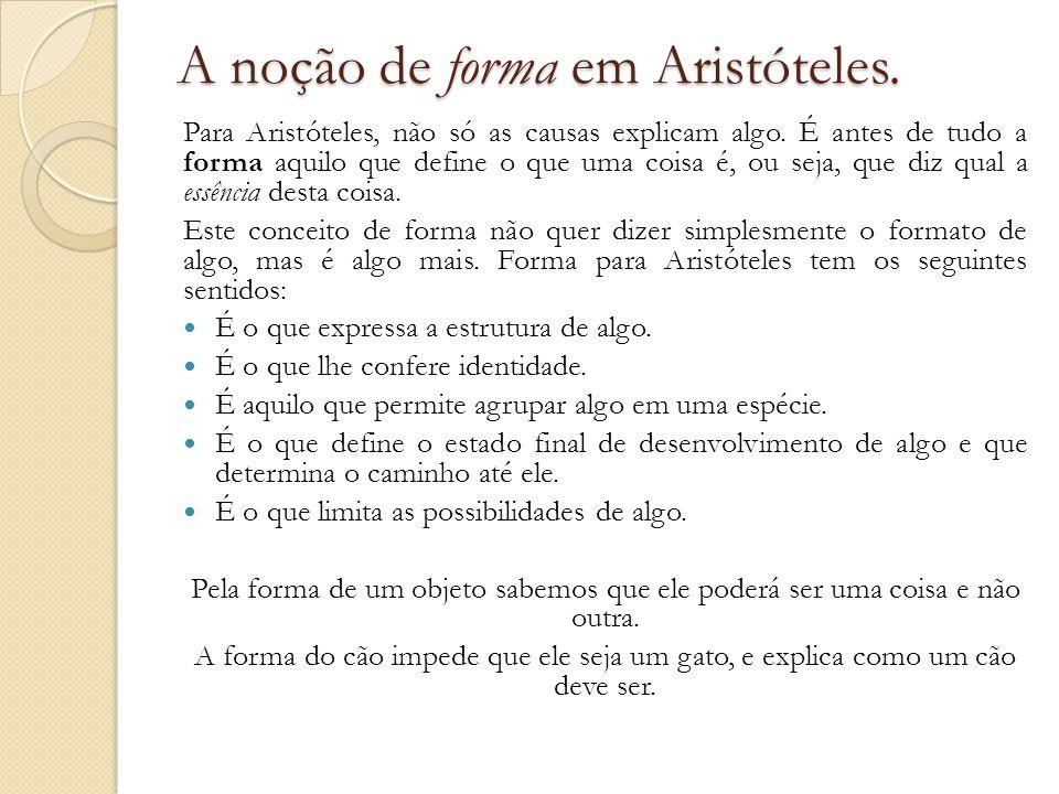 A noção de forma em Aristóteles. Para Aristóteles, não só as causas explicam algo. É antes de tudo a forma aquilo que define o que uma coisa é, ou sej