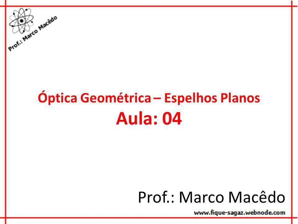 Óptica Geométrica – Espelhos Planos Aula: 04 Prof.: Marco Macêdo