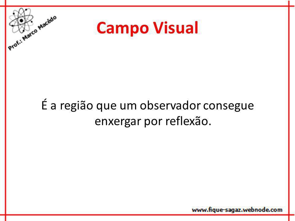 Campo Visual É a região que um observador consegue enxergar por reflexão.