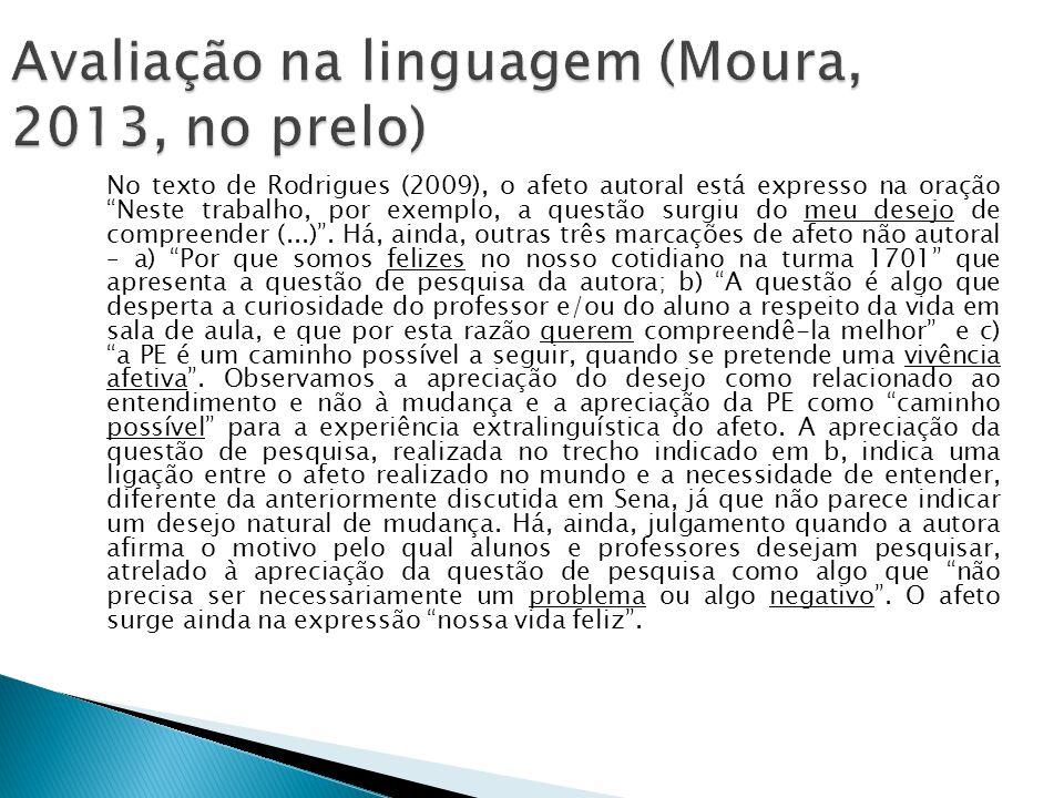 No texto de Rodrigues (2009), o afeto autoral está expresso na oração Neste trabalho, por exemplo, a questão surgiu do meu desejo de compreender (...).