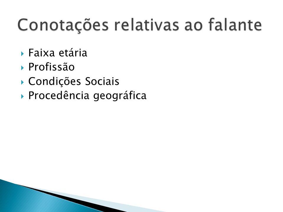 Faixa etária Profissão Condições Sociais Procedência geográfica