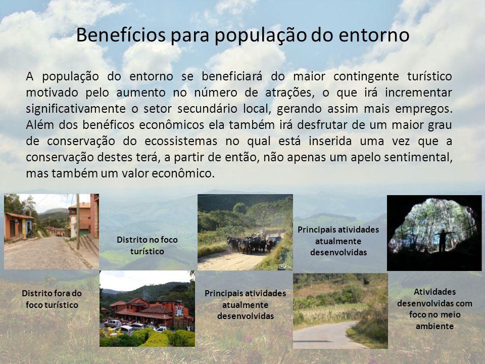 Benefícios para população do entorno A população do entorno se beneficiará do maior contingente turístico motivado pelo aumento no número de atrações,