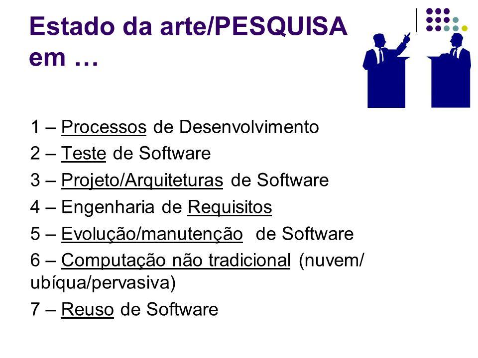 Estado da arte/PESQUISA em … 1 – Processos de Desenvolvimento 2 – Teste de Software 3 – Projeto/Arquiteturas de Software 4 – Engenharia de Requisitos 5 – Evolução/manutenção de Software 6 – Computação não tradicional (nuvem/ ubíqua/pervasiva) 7 – Reuso de Software