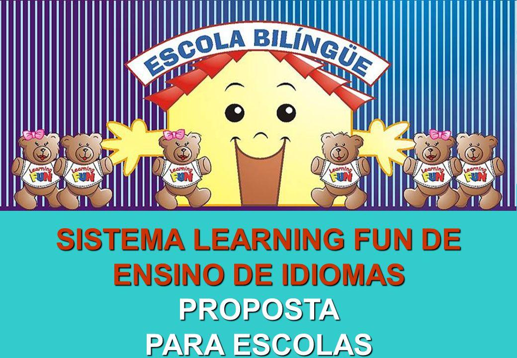 Sistema Learning Fun de Franquia O MÉTODO OFERECE 3 GRANDES CURSOS BILÍNGUE (6 meses a 6 anos) REGULAR (2 anos a 7 anos) SPECIAL TIME 2 anos MY FIRST STEPS 3 anos SPECIAL BOOK 4 anos LEARNING FUN 5 anos MY LIFE 6 anos READING FUN 1-2 7 anos READING FUN 3-4 8 anos READING FUN 5-6 9 anos READING FUN 7-8 10 anos ESPECIAL (8 anos a 10 anos)
