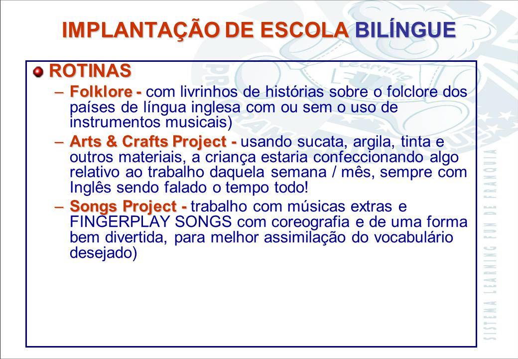 Sistema Learning Fun de Franquia IMPLANTAÇÃO DE ESCOLA BILÍNGUE ROTINAS –Cultural Games - –Cultural Games - American and English (com o acompanhamento
