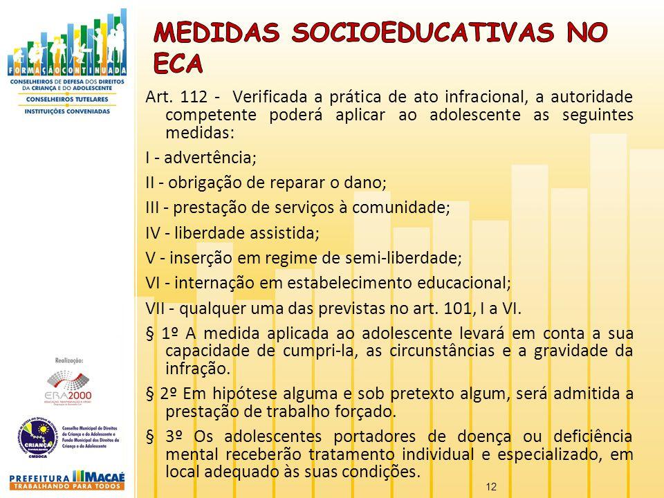Art. 112 - Verificada a prática de ato infracional, a autoridade competente poderá aplicar ao adolescente as seguintes medidas: I - advertência; II -