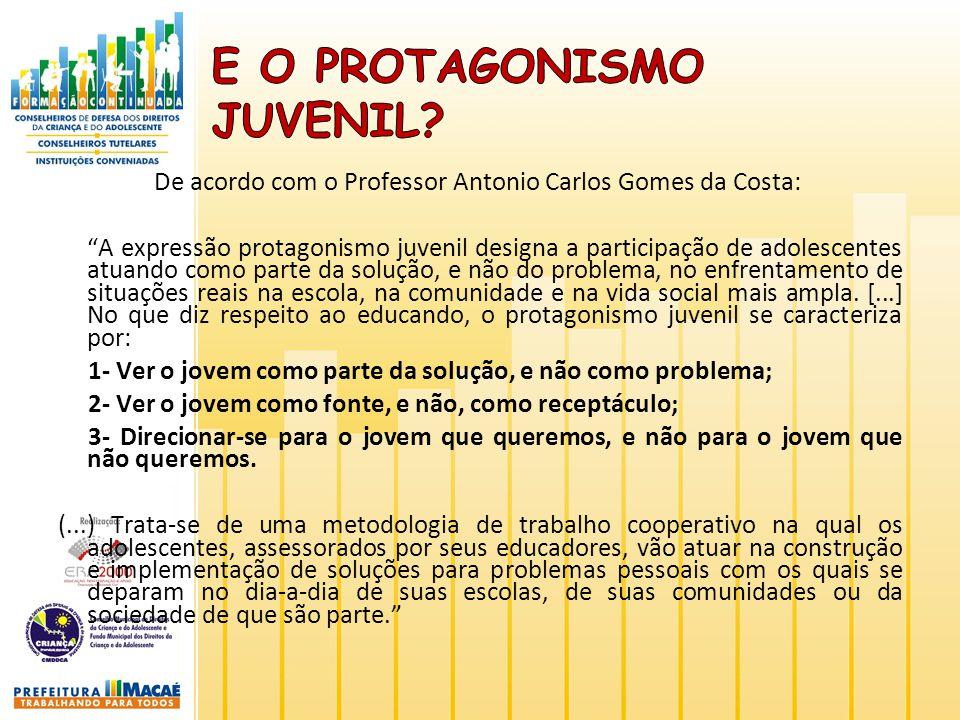 De acordo com o Professor Antonio Carlos Gomes da Costa: A expressão protagonismo juvenil designa a participação de adolescentes atuando como parte da