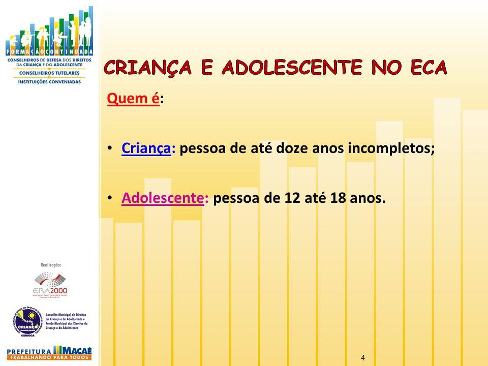 Quem é: Criança: pessoa de até doze anos incompletos; Adolescente: pessoa de 12 até 18 anos. 4