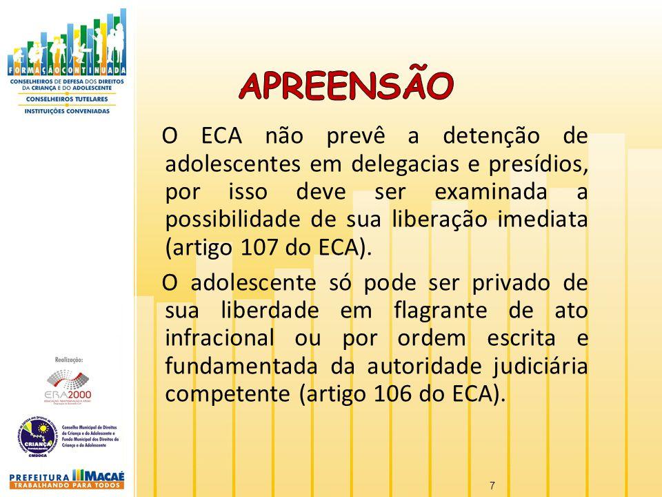 O ECA não prevê a detenção de adolescentes em delegacias e presídios, por isso deve ser examinada a possibilidade de sua liberação imediata (artigo 10