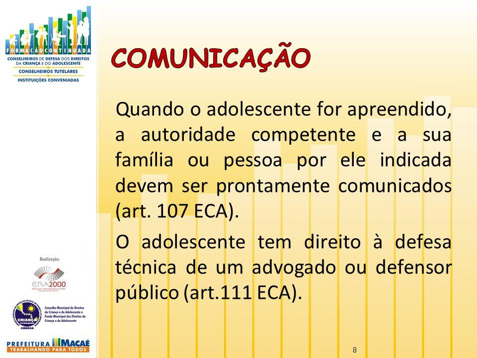 Quando o adolescente for apreendido, a autoridade competente e a sua família ou pessoa por ele indicada devem ser prontamente comunicados (art. 107 EC