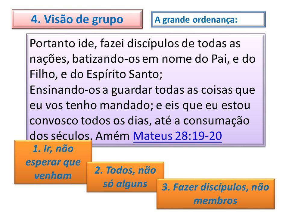 A grande ordenança: Portanto ide, fazei discípulos de todas as nações, batizando-os em nome do Pai, e do Filho, e do Espírito Santo; Ensinando-os a gu