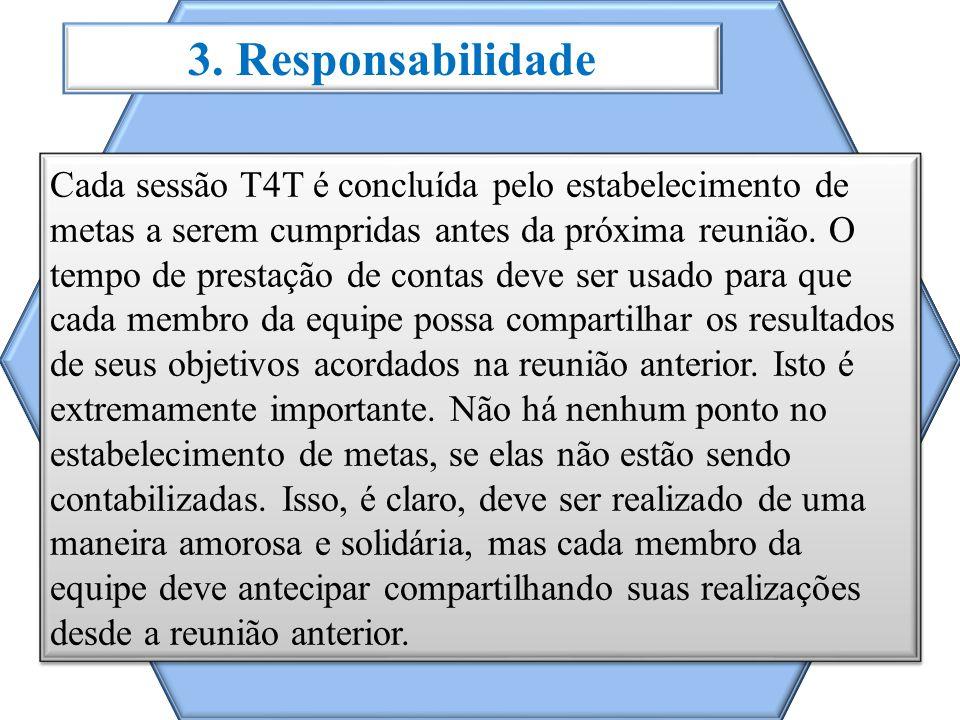 3. Responsabilidade Cada sessão T4T é concluída pelo estabelecimento de metas a serem cumpridas antes da próxima reunião. O tempo de prestação de cont