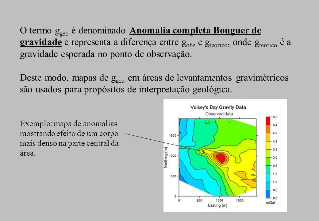 O termo g geo é denominado Anomalia completa Bouguer de gravidade e representa a diferença entre g obs e g teorico, onde g teorico é a gravidade esper