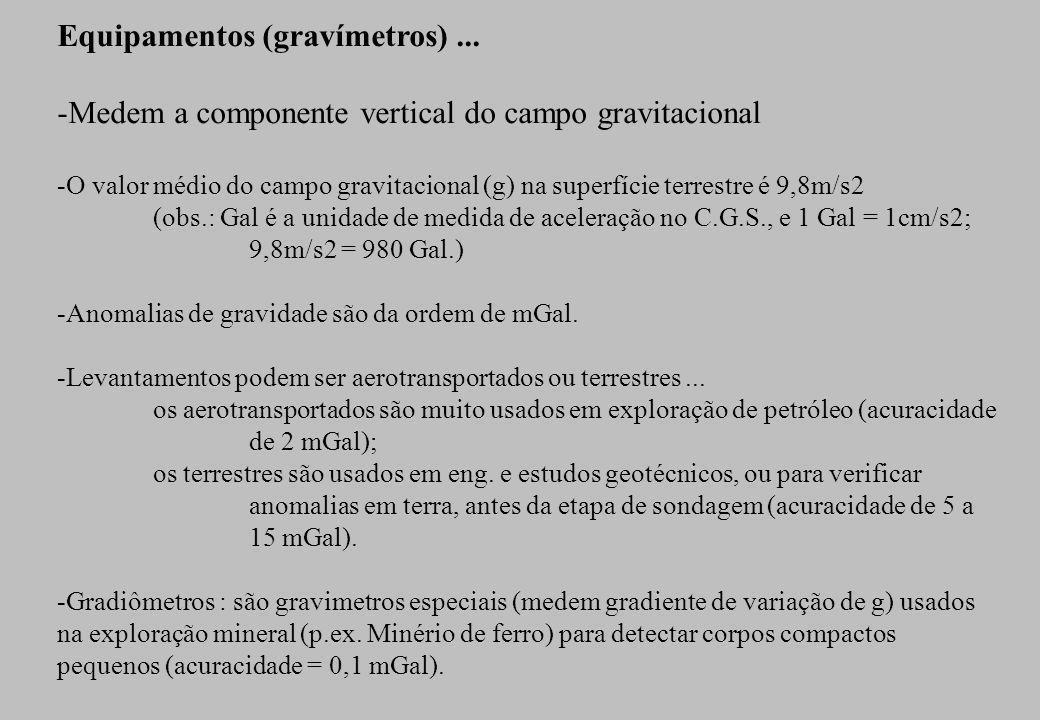 Equipamentos (gravímetros)... -Medem a componente vertical do campo gravitacional -O valor médio do campo gravitacional (g) na superfície terrestre é