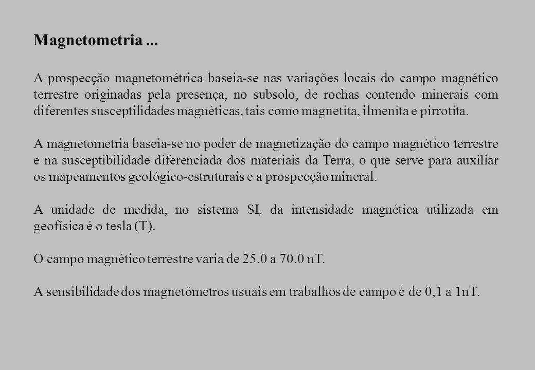 Magnetometria... A prospecção magnetométrica baseia-se nas variações locais do campo magnético terrestre originadas pela presença, no subsolo, de roch