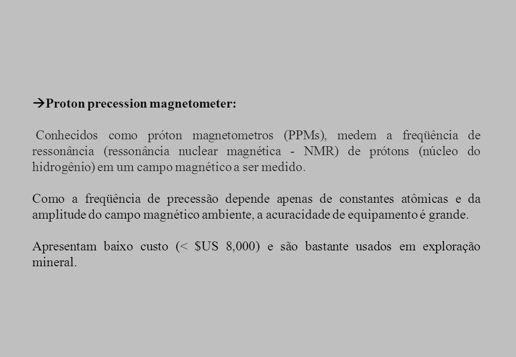 Proton precession magnetometer: Conhecidos como próton magnetometros (PPMs), medem a freqüência de ressonância (ressonância nuclear magnética - NMR) d