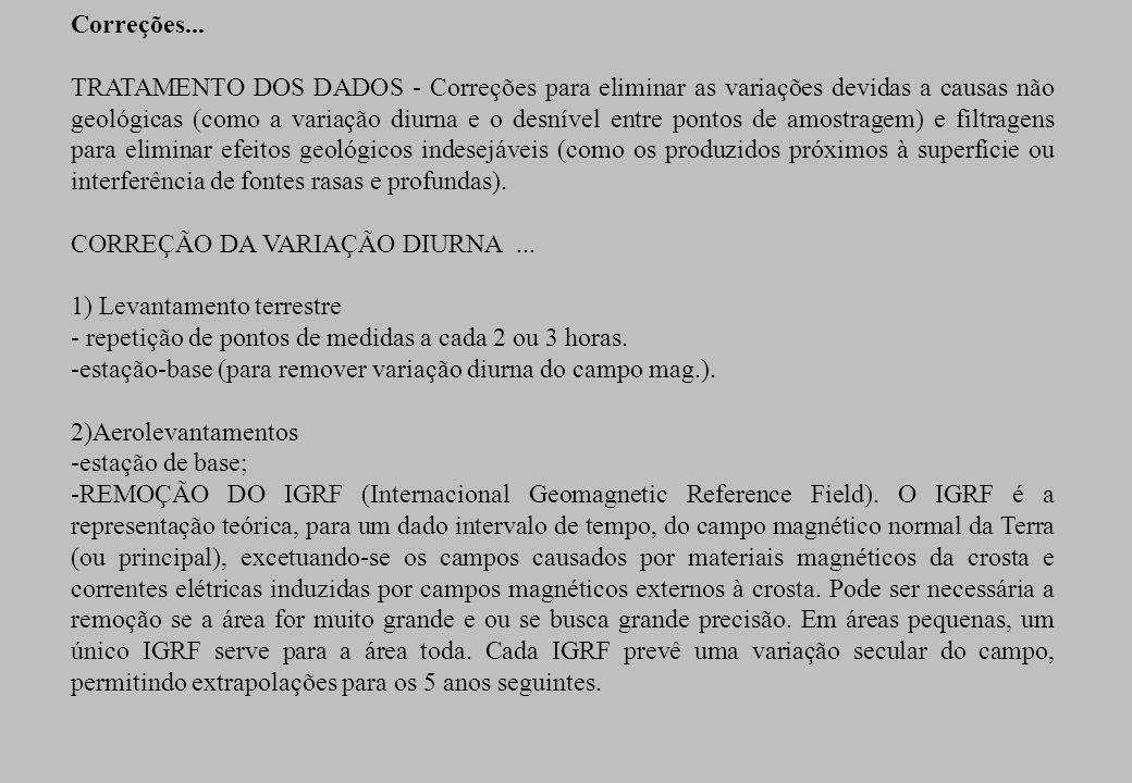 Correções... TRATAMENTO DOS DADOS - Correções para eliminar as variações devidas a causas não geológicas (como a variação diurna e o desnível entre po