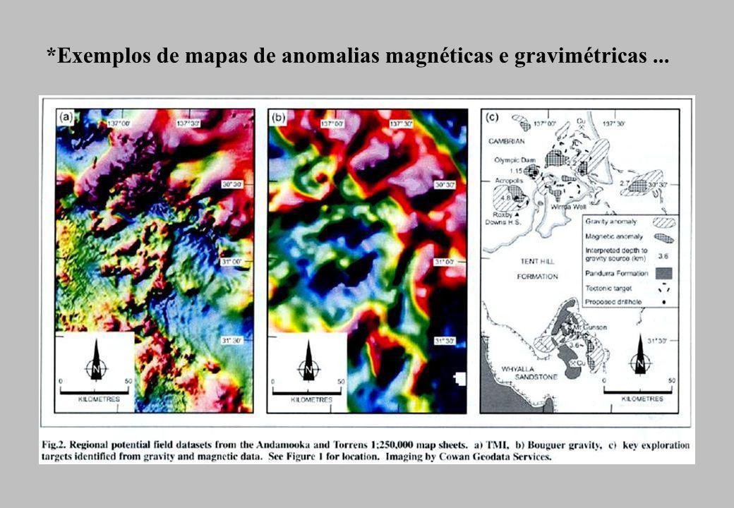 *Exemplos de mapas de anomalias magnéticas e gravimétricas...