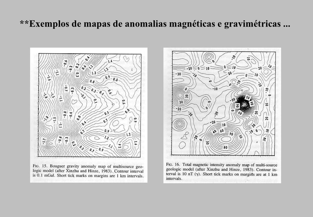 **Exemplos de mapas de anomalias magnéticas e gravimétricas...