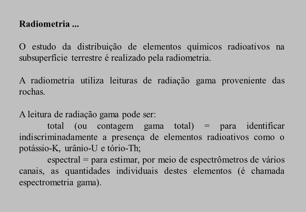 Radiometria... O estudo da distribuição de elementos químicos radioativos na subsuperfície terrestre é realizado pela radiometria. A radiometria utili