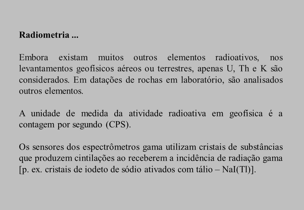 Radiometria... Embora existam muitos outros elementos radioativos, nos levantamentos geofísicos aéreos ou terrestres, apenas U, Th e K são considerado