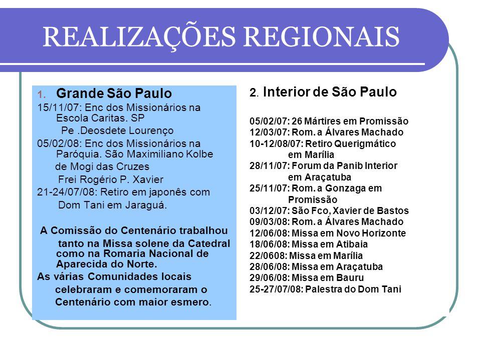 REALIZAÇÕES REGIONAIS 1.Grande São Paulo 15/11/07: Enc dos Missionários na Escola Caritas.