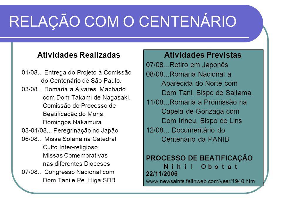 RELAÇÃO COM O CENTENÁRIO Atividades Realizadas 01/08...