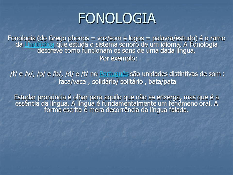 FONOLOGIA FONOLOGIA Fonologia (do Grego phonos = voz/som e logos = palavra/estudo) é o ramo da Lingüística que estuda o sistema sonoro de um idioma. A