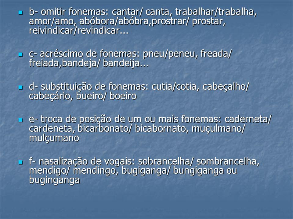 b- omitir fonemas: cantar/ canta, trabalhar/trabalha, amor/amo, abóbora/abóbra,prostrar/ prostar, reivindicar/revindicar... b- omitir fonemas: cantar/