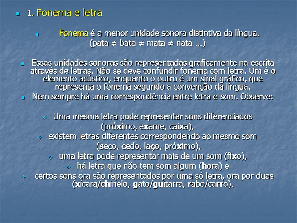 1. Fonema e letra 1. Fonema e letra Fonema é a menor unidade sonora distintiva da língua. Fonema é a menor unidade sonora distintiva da língua. (pata
