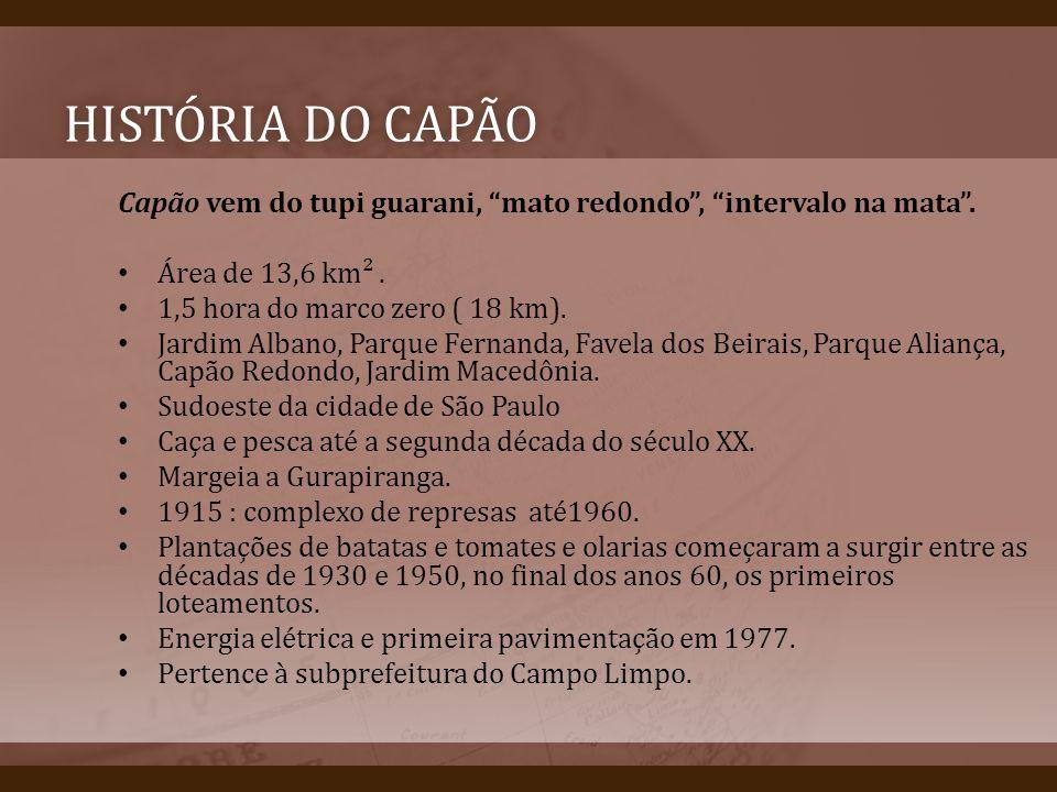 HISTÓRIA DO CAPÃOHISTÓRIA DO CAPÃO Capão vem do tupi guarani, mato redondo, intervalo na mata. Área de 13,6 km². 1,5 hora do marco zero ( 18 km). Jard