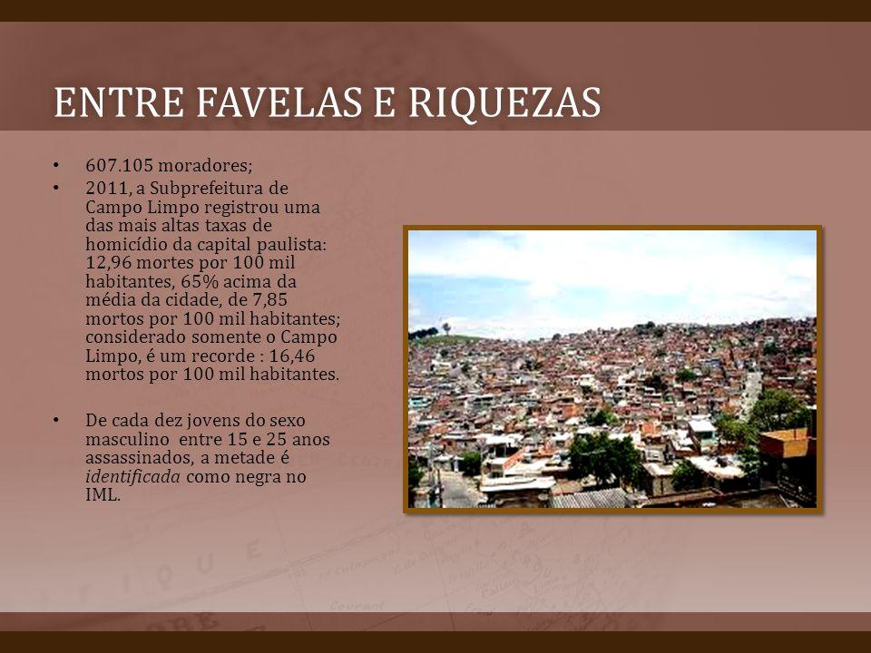 ENTRE FAVELAS E RIQUEZASENTRE FAVELAS E RIQUEZAS 607.105 moradores; 2011, a Subprefeitura de Campo Limpo registrou uma das mais altas taxas de homicíd