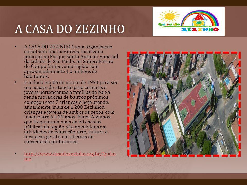 A CASA DO ZEZINHOA CASA DO ZEZINHO A CASA DO ZEZINHO é uma organização social sem fins lucrativos, localizada próxima ao Parque Santo Antonio, zona su
