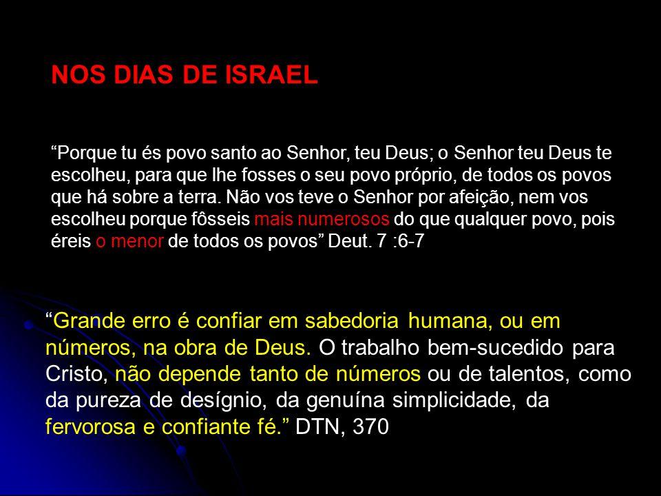 NOS DIAS DE ISRAEL Porque tu és povo santo ao Senhor, teu Deus; o Senhor teu Deus te escolheu, para que lhe fosses o seu povo próprio, de todos os povos que há sobre a terra.